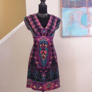ECI New York/ Tie Back/ Print/ Fit & Flare/ Dress